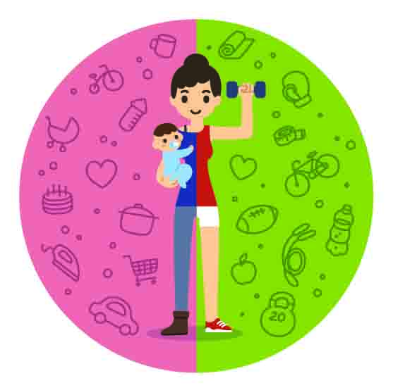 Illustration of the concept of balance. Young woman holding a baby boy on the left and in fitness gear with a dumbbell on the right. Background is divided in two theme patterned parts.